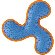 All Kind Toss & Play No Squeak Tri-Flyer Dog Toy, Large, Blue Body/Orange Trim