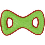 All Kind Toss & Play No Squeak Bow Dog Toy, Large, Green Body/Red Trim