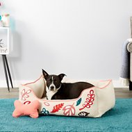 Blueberry Pet Leaves Canvas Dog Bed, Pink & Beige, Large