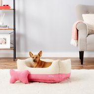 Blueberry Pet Color-Block Canvas Pet Bed, Pink & Beige, Medium