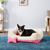 Blueberry Pet Color-Block Canvas Pet Bed, Pink & Beige, Large