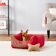 Blueberry Pet Inspired Embroidery Paisley Dog Bed, Tango Red, Medium