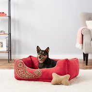 Blueberry Pet Inspired Embroidery Paisley Dog Bed, Tango Red, Large
