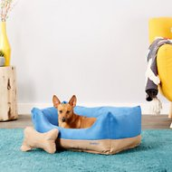 Blueberry Pet Color-Block Suede Dog Bed, Blue & Beige, Medium