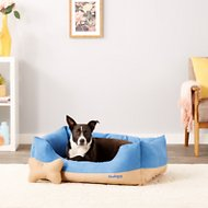 Blueberry Pet Color-Block Suede Dog Bed, Blue & Beige, Large