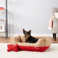 Blueberry Pet Color-Block Suede Dog Bed, Tango Red & Beige, Large
