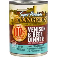 Evanger's Venison & Beef Dinner Grain-Free Canned Dog Food, 12.8-oz, case of 12
