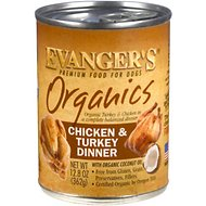 Evanger's Organics Chicken & Turkey Grain-Free Canned Dog Food, 12.8-oz, case of 12