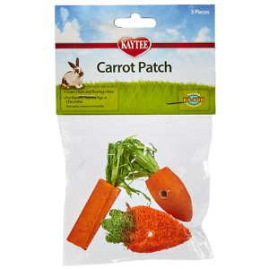 Kaytee Carrot Patch Variety Small Animal Chew Toy, 3-pack; Bring the carrot patch to your partner with Kaytee's Carrot Patch Chew Toys! This pack of toys contains three faux-carrots made of wood, sisal and loofa. The wood carrot provides your pal with a hard surface for gnawing, the sisal is a medium texture that's great for cleaning teeth by removing plaque and tartar, and the loofa offers a soft texture that's perfect for flossing. Whether you have a rabbit, a guinea pig, or a chinchilla, your companion is going to love the variety of textures that these carrot patch chew toys have to offer!