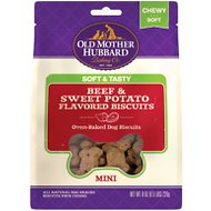 Old Mother Hubbard Mini Soft & Tasty Beef & Sweet Potato Flavor Baked Biscuit Dog Treats, 8-oz bag