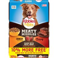 Kibbles 'n Bits Meaty Middles Prime Rib Flavor Dry Dog Food, 16.5-lb bag
