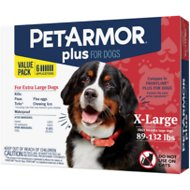 PetArmor Plus Flea & Tick Squeeze-On Treatment for Dogs 89-132 lbs, 6 treatment