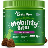 Zesty Paws Hip & Joint Soft Chews with Organic Hemp, Glucosamine, Chondroitin Chicken Flavor Dog Supplement, 90 count