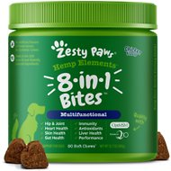 Zesty Paws 5 -in-1 Multivitamin Soft Chews with Organic Hemp & Glucosamine Chicken Flavor Dog Supplement, 90 count