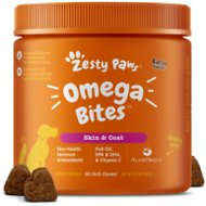 Zesty Paws Omega Skin & Coat Soft Chews with Omega 3, 6, & 9 Bacon Flavor Dog Supplement, 90 count
