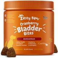 Zesty Paws Cranberry Bladder Urinary Tract Support Soft Chews Bacon Flavor Dog Supplement, 90 count