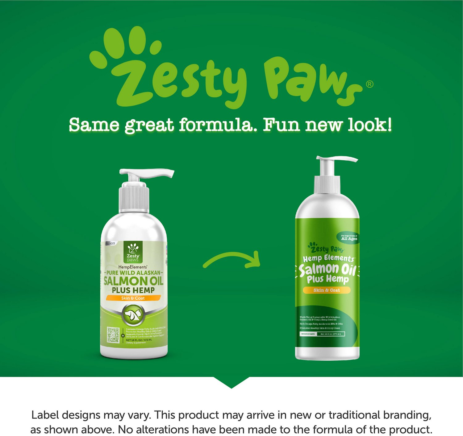 Zesty Paws Wild Alaskan Salmon Oil with Refined Virgin Hemp Seed Oil Dog &  Cat Supplement, 16-oz bottle
