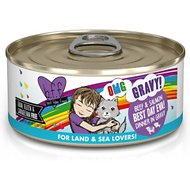 BFF OMG Best Day Eva! Beef & Salmon Dinner in Gravy Grain-Free Canned Cat Food, 5.5-oz, case of 8