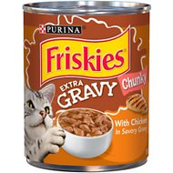 Friskies Extra Gravy Chunky With Chicken in Savory Gravy Canned Cat Food, 13.5-oz can, case of 12