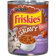Friskies Extra Gravy Chunky With Turkey in Savory Gravy Canned Cat Food, 13.5-oz can, case of 12