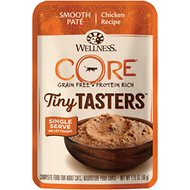 Wellness CORE Tiny Tasters Chicken Pate Grain-Free Cat Food Pouches, 1.75-oz, pack of 12