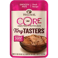 Wellness CORE Tiny Tasters Duck Pate Grain-Free Cat Food Pouches, 1.75-oz, pack of 12