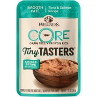 Wellness CORE Tiny Tasters Tuna & Salmon Pate Grain-Free Cat Food Pouches, 1.75-oz, pack of 12