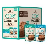 Wellness CORE Tiny Tasters Tuna & Salmon, Tuna Pate Sea Variety Pack Grain-Free Cat Food Pouches