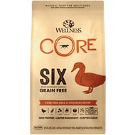 Wellness CORE SIX Cage-Free Duck & Chickpeas Grain-Free Recipe Dry Dog Food, 4-lb bag
