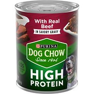 Dog Chow High Protein Beef in Savory Gravy Canned Dog Food, 13-oz, case of 12