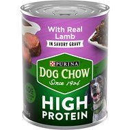 Dog Chow High Protein Lamb in Savory Gravy Canned Dog Food, 13-oz, case of 12