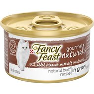 Fancy Feast Gourmet Naturals Beef Recipe in Gravy Canned Cat Food, 3-oz, case of 12
