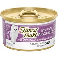 Fancy Feast Gourmet Naturals Beef Recipe Pate Canned Cat Food, 3-oz, case of 12