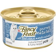 Fancy Feast Gourmet Naturals Trout & Tuna Recipe Pate Canned Cat Food, 3-oz, case of 12