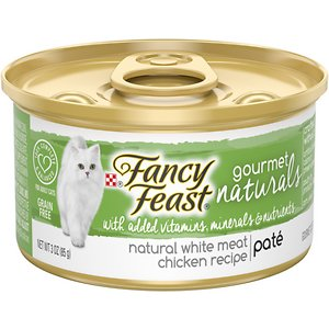 Fancy Feast Gourmet Naturals White Meat Chicken Recipe Pate Canned Cat Food, 3-oz, case of 12