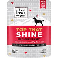 I and Love and You Top That Shine Beef Recipe Grain-Free Dog Food Topper, 3-oz pouch, case of 12