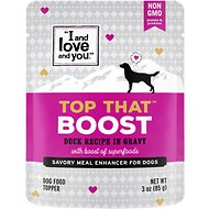 I and Love and You Top That Boost Duck Recipe Grain-Free Dog Food Topper, 3-oz pouch, case of 12