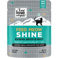 I and Love and You Feed Meow Shine Mackerel Recipe Grain-Free Cat Food Topper, 3-oz pouch, case of 12