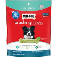 Milk-Bone Fresh Breath Brushing Chews Daily Dental Dog Treats, Small/Medium, 25 count