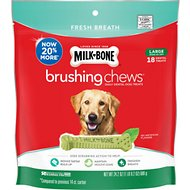 Milk-Bone Fresh Breath Brushing Chews Daily Dental Dog Treats, Large, 18 count