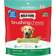 Milk-Bone Fresh Breath Brushing Chews Daily Dental Dog Treats, Large, 26 count