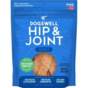 Dogswell Jerky Hip & Joint Chicken Recipe Grain-Free Dog Treats, 12-oz bag