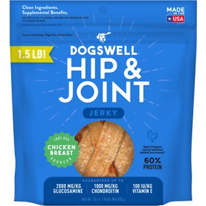 Dogswell Jerky Hip & Joint Chicken Recipe Grain-Free Dog Treats, 24-oz bag