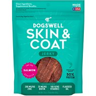 Dogswell Jerky Skin & Coat Salmon Recipe Grain-Free Dog Treats, 10-oz bag