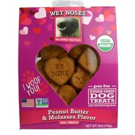 Wet Noses Valentine's Day Peanut Butter & Molasses Flavor Grain-Free Dog Treats, 5-oz box