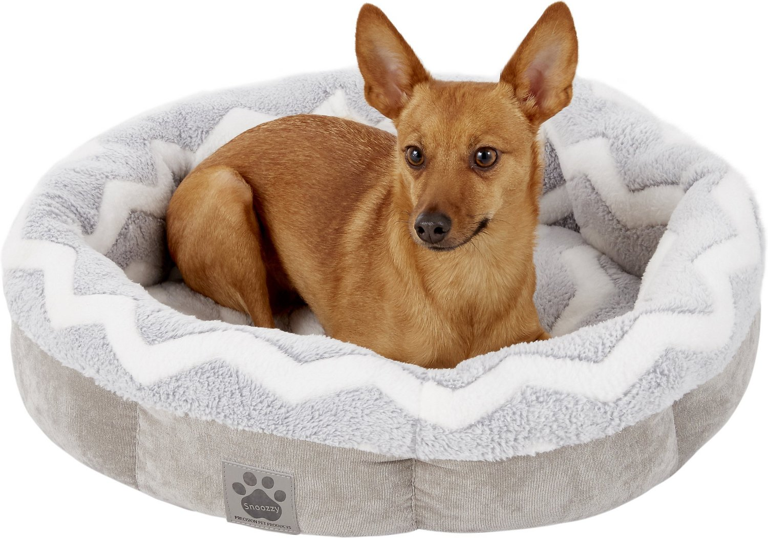 PRECISION PET PRODUCTS SnooZZy Round Shearling Bolster Dog ...