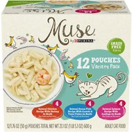 Purina Muse Natural Filets Variety Pack Grain-Free Wet Cat Food, 1.76-oz pouch, case of 12