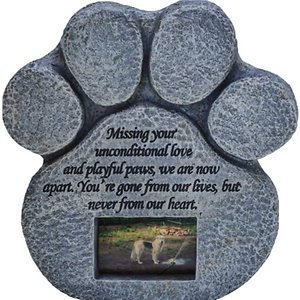 Pawprints Remembered Pet Memorial Stone w/ Picture Frame