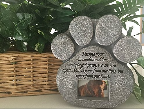 Pawprints Remembered Pet Memorial Stone W Picture Frame