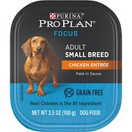 Purina Pro Plan Focus Small Breed Chicken Entree Grain-Free Wet Dog Food, 3.5-oz tray, case of 12